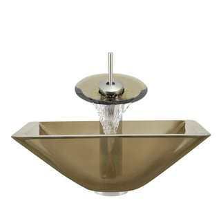 Polaris Sinks Brushed Nickel Taupe Square Vessel Sink and Waterfall Faucet