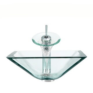 Polaris Sinks Chrome Crystal Square Vessel Sink and Waterfall Faucet