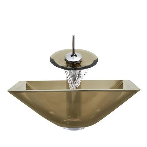 Polaris Sinks Chrome Taupe Square Vessel Sink and Waterfall Faucet