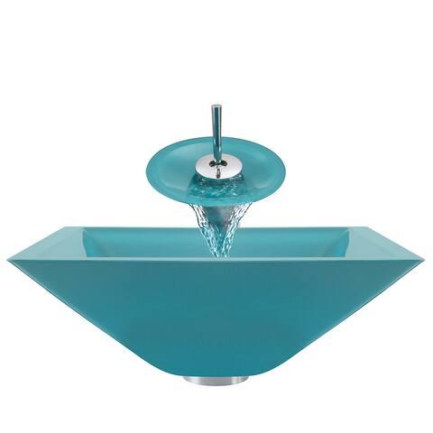 Polaris Sinks Turquoise/ Chrome 4-piece Square Bathroom Sink Ensemble