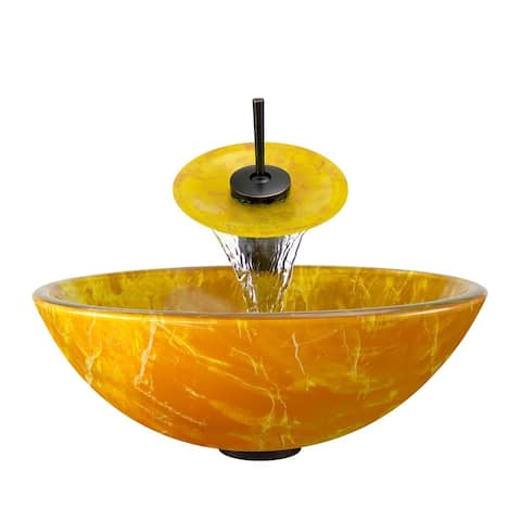 Polaris Sinks Goldtone and Yellow Glass/ Oil Rubbed Bronze 4-piece Bathroom Ensemble - Orange/Yellow
