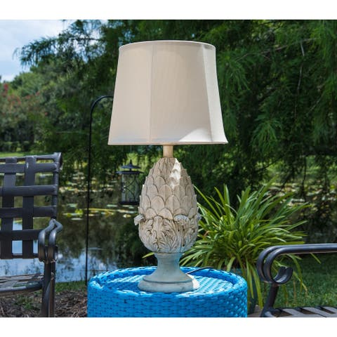 Portia White 30-inch Outdoor Table Lamp
