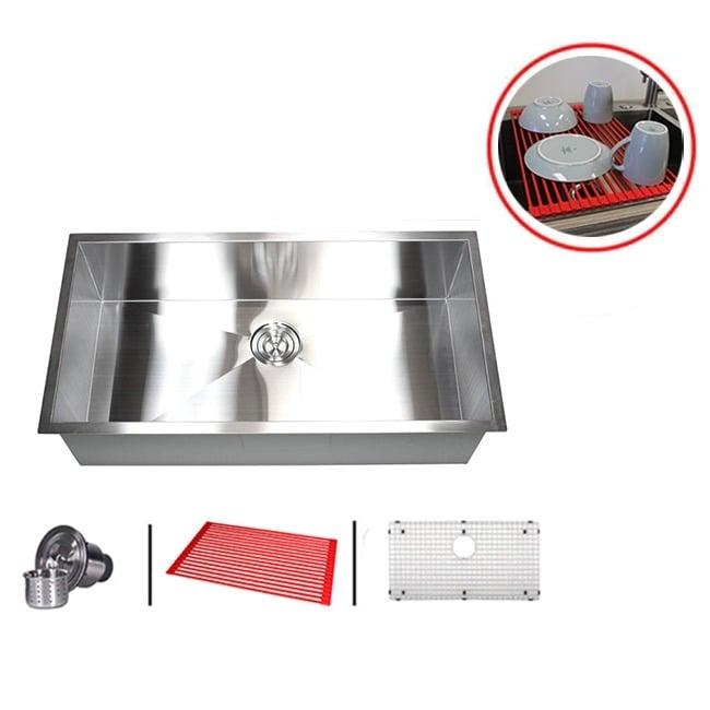Shop 36 Inch Single Bowl 16 Gauge Stainless Steel Undermount Zero Radius Kitchen Sink Combo On Sale Overstock 9086362