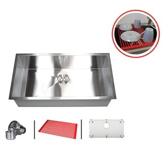 36-inch Single Bowl 16-gauge Stainless Steel Undermount Zero Radius Kitchen Sink Combo