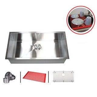 36 inch single bowl 16 gauge stainless steel undermount zero radius kitchen sink combo 36 inch stainless steel single bowl undermount zero radius kitchen      rh   overstock com