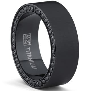 Oliveti Men S Plated Brushed Black Anium Cubic Zirconia Ring Comfort Fit Wedding Band 8