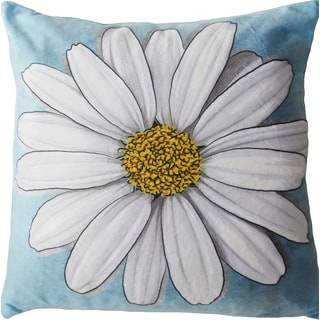 Maxwell Dickson White Daisy Velour Throw Pillow