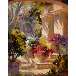 Betty Carr 'Flowered Courtyard' Gallery Wrapped Canvas Art
