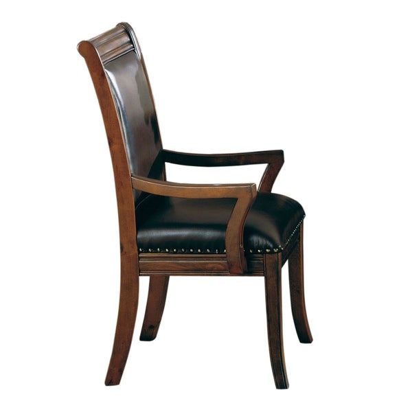 Coaster company westminster top grain leather dining arm for Leather dining chairs with arms
