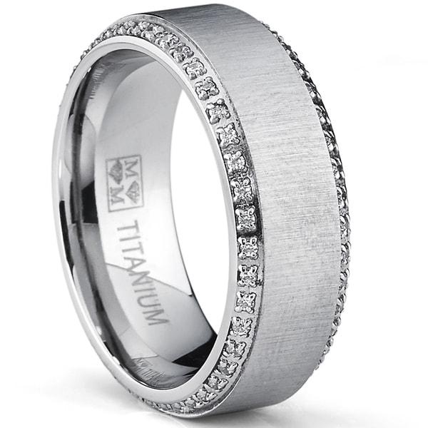 ca3df8abc9c Oliveti Brushed Titanium Men  x27 s Round-cut Cubic Zirconia Comfort Fit  Wedding