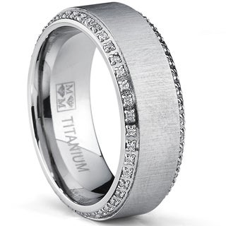 Oliveti Mens Brushed Titanium Cubic Zirconia Comfort Fit Ring