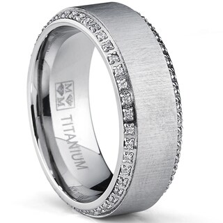 Oliveti Brushed Titanium Men's Round-cut Cubic Zirconia Comfort Fit Wedding Band (8 mm)|https://ak1.ostkcdn.com/images/products/9086585/Oliveti-Brushed-Titanium-Mens-Round-cut-Cubic-Zirconia-Comfort-Fit-Wedding-Band-8-mm-P16276618.jpg?_ostk_perf_=percv&impolicy=medium