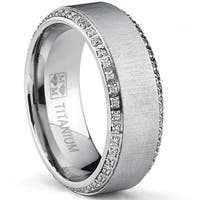 Oliveti Brushed Titanium Men's Round-cut Cubic Zirconia Comfort Fit Wedding Band (8 mm)