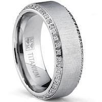 Oliveti Brushed Anium Men S Round Cut Cubic Zirconia Comfort Fit Wedding Band 8 Mm