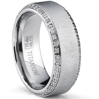 oliveti brushed titanium mens round cut cubic zirconia comfort fit wedding band 8 mm - Guy Wedding Rings