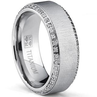 Ordinaire Oliveti Brushed Titanium Menu0027s Round Cut Cubic Zirconia Comfort Fit Wedding  Band ...