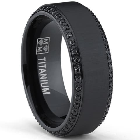 Oliveti Black Plated Titanium Men's Black Cubic Zirconia Comfort Fit Wedding Band (8 mm)