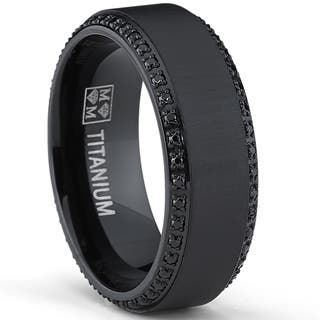 oliveti black plated titanium mens black cubic zirconia comfort fit wedding band 8 - Mens Wedding Rings Black
