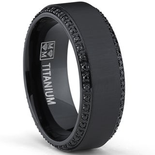 Oliveti Black Plated Titanium Menu0027s Black Cubic Zirconia Comfort Fit Wedding  Band ...