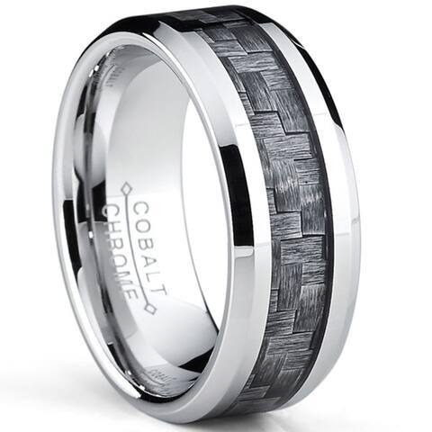 Oliveti Cobalt Men's Grey Carbon Fiber Inlay Comfort Fit Band (8 mm)