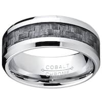Oliveti Cobalt Men's Grey Carbon Fiber Inlay Comfort Fit Band (8 mm)