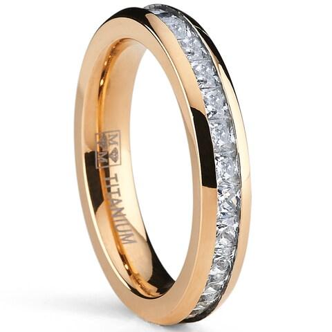 Oliveti Rose Goldplated Titanium Princess-cut Cubic Zirconia Comfort Fit Eternity Ring (4 mm)