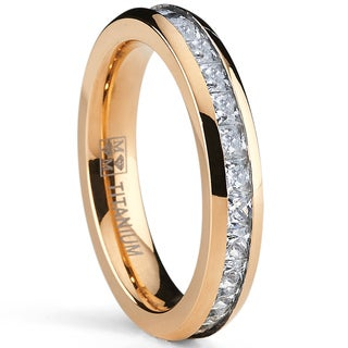 Oliveti Rose Goldplated Titanium Princess-cut Cubic Zirconia Comfort Fit Eternity Ring (4 mm)