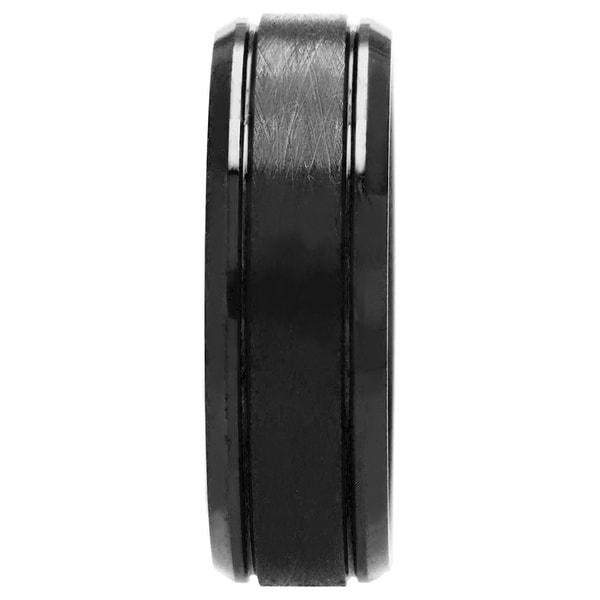 Oliveti Cobalt Chrome Men's Black Textured Ring Comfort Fit Band (8 mm)