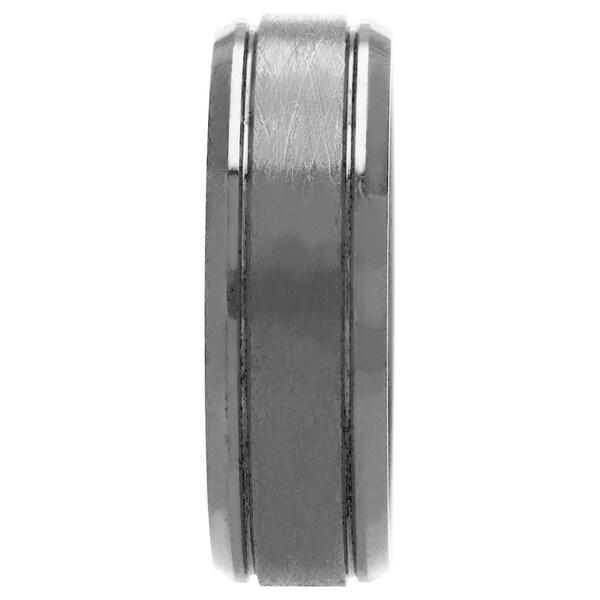 Oliveti Cobalt Chrome Men's Black Textured Ring Comfort Fit Band (8 mm). Opens flyout.