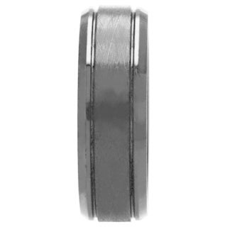 Oliveti Cobalt Chrome Men's Black Textured Ring Comfort Fit Band (8 mm)
