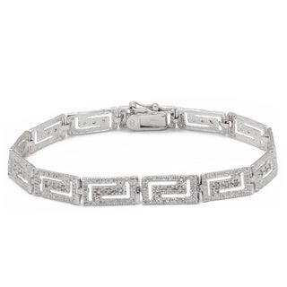 Finesque Sterling Silver 1/4ct TDW Diamond Greek Key Design Bracelet