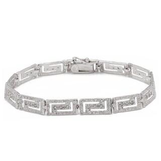 Finesque Sterling Silver 1/4ct TDW Diamond Greek Key Design Bracelet