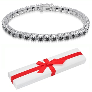 Finesque Sterling Silver 3 4/5ct TDW Black Diamond Tennis Bracelet with Red Bow Gift Box