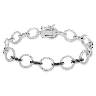 Finesque Silverplated 1/2ct TW Black and White Diamond Circle Design Bracelet