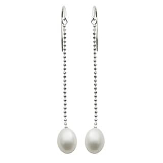 Pearls For You Sterling Silver White Freshwater Pearl Dangle Earrings