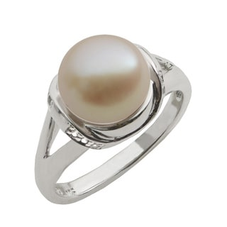 Pearls For You Sterling Silver Pink Freshwater Pearl and White Topaz Accent Ring (9-10 mm)