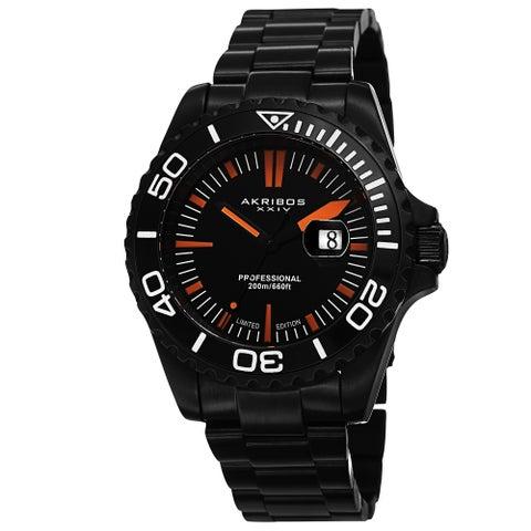 Akribos XXIV Men's Divers Quartz Date Black Bracelet Watch