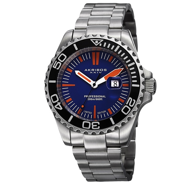 Akribos XXIV Men's Divers Quartz Date Blue Bracelet Watch