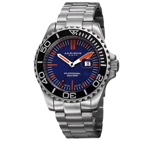 Akribos XXIV Men's Divers Quartz Date Blue Bracelet Watch