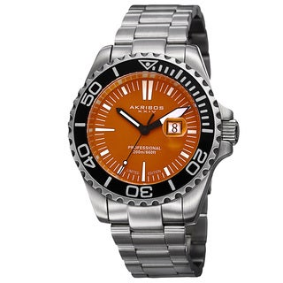 Akribos XXIV Men's Divers Quartz Date Orange Bracelet Watch