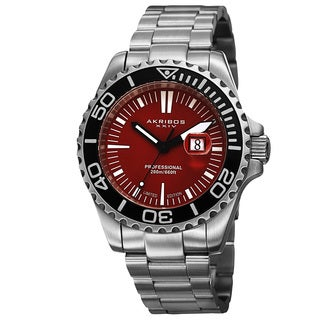 Akribos XXIV Men's Divers Quartz Date Red Bracelet Watch
