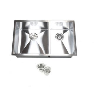 Double Bowl 32-inch 60/40 Undermount Zero Radius Kitchen Sink with Accessories