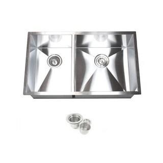 Double Bowl 32-inch 40/60 Undermount Zero Radius Kitchen Sink with Accessories
