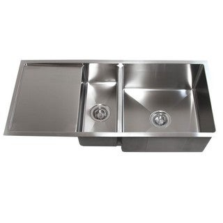 42-inch Double Bowl Undermount 15mm Radius Kitchen Sink With 13-inch Drainboard