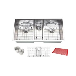Triple Bowl 42-inch Stainless Steel Undermount Zero Radius Kitchen Sink (16 Gauge Combo) - STAINLESS STEEL