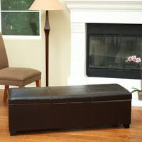 Shelly Bonded Leather Storage Ottoman by Christopher Knight Home