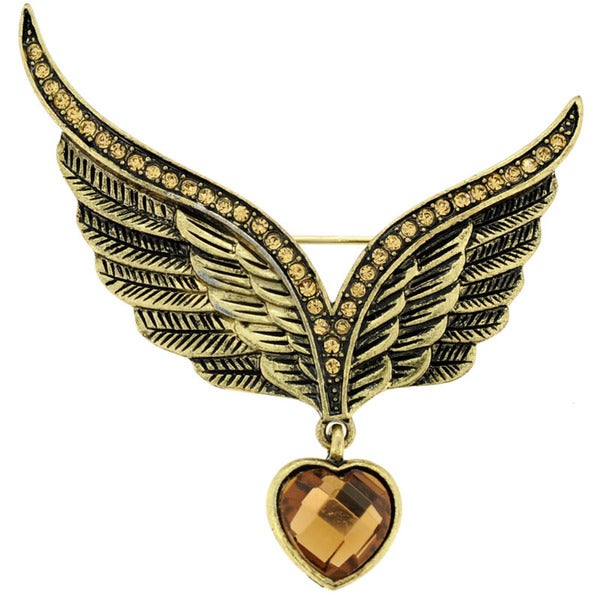 Base Metal Brown Crystal Eagle Wing Pin Brooch