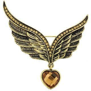 Base Metal Brown Crystal Eagle Wing Pin Brooch