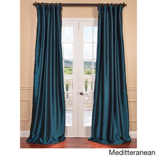 Faux Silk Taffeta Solid Blackout Single Curtain Panel (50 X 108 - Mediterranean)