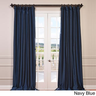 Faux Silk Taffeta Solid Blackout Single Curtain Panel (50 X 108 - Navy)